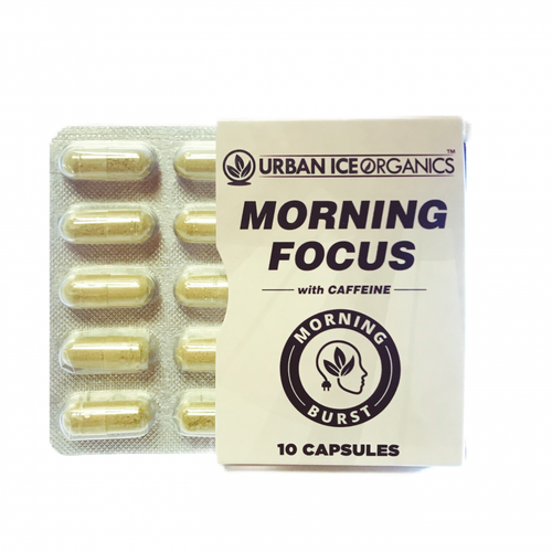 Urban Ice Organics | Kratom Capsules | Morning Focus w/ Caffeine | 10 Ct.