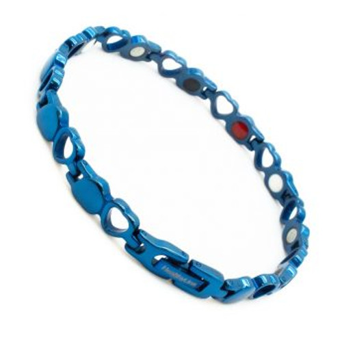 Stainless Steel Lady's Magnetic Power Bracelet. 4-in-1 Energy: Magnets + Negative Ions + Far Infrared Rays (FIR) + Germanium. Model BR-S-149. Blue color