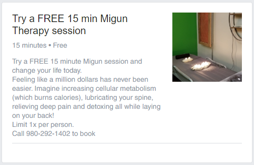 Try a FREE 15 minute Migun session and change your life today. Feeling like a million dollars has never been easier. Imagine increasing cellular metabolism (which burns calories), lubricating your spine, relieving deep pain and detoxing all while laying on your back! Limit 1x per person. Call 980-292-1402 to book