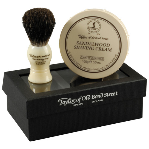 Contains a Sandalwood Shave Cream Bowl (150g) and a Pure Badger Shaving Brush.