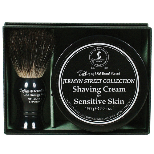 A perfect gift for those with sensitive skin containing Pure Badger Shaving Brush and Jermyn Street Collection Shaving Cream Bowl (150g).
