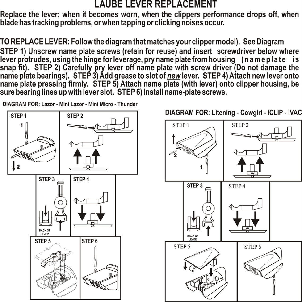 Instructions for super duty lever replacement.