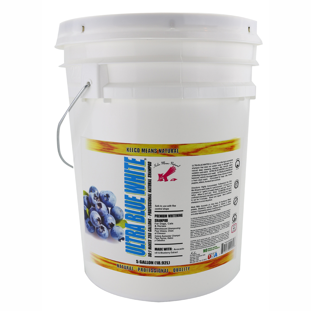 Kelco Ultra Blue White Shampoo in 5 Gallon Size