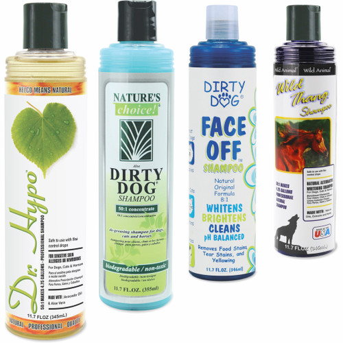 Mix and Match Sampler Kit 11.7 oz., Showing Dr. Hypo, Dirty Dog, Dirty Dog Face Off, and Wild Thang Shampoos cascading style.