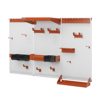 Here is a look of this awesome American Made wall organization system with white powder coated panels and orange color accessories.