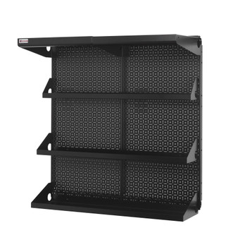 Made in the USA., this Shelf Kit picture reflects black metal pegboard panels and black accessories.