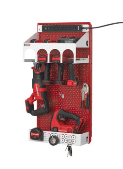 Red Metal Pegboard Wall Organization Power Tool Organizer.