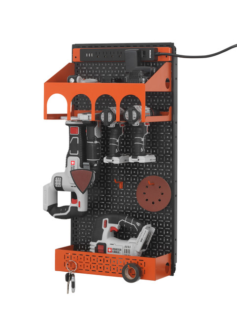 Made in the USA .  This picture shows black powder coated metal pegboard and with orange powder coated metal tool organization shelf and power tool holder included.