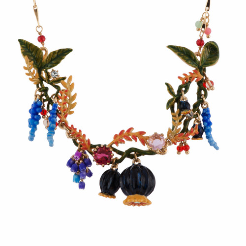 Poppies, Flower Bunches & Leaves Necklace | AFCH3021