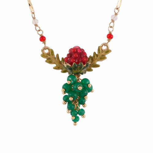 Raspberry, Leaves And Green Bunch Necklace | AFCH3111