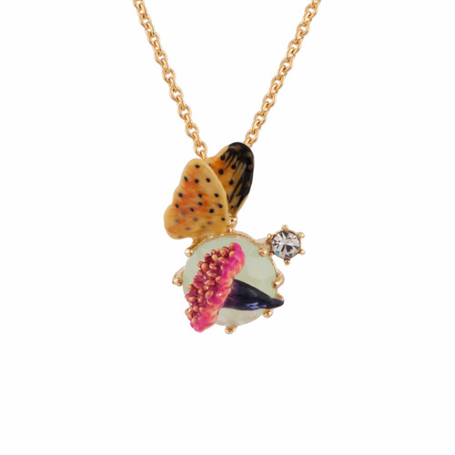 38+4 Cm Eclatante Discrétion Blue Stone, Flower & Yellow Butterfly Necklace | AFED3041