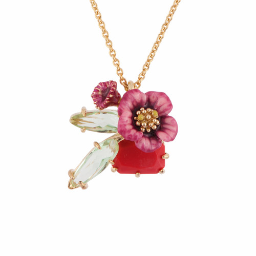 38+4 Cm Eclatante Discrétion Coral Crystal Stone W/ Pink Flower & Crystal Stone Wings Necklace | AFED3101