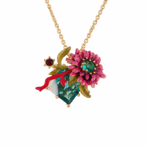 38+4 Cm Eclatante Discrétion 2 Colored Crystal Stones W / Flower And Red Coral Necklace | AFED3081