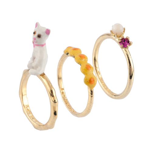 Set Of 3 Little Cats White Cat, Dandelion Flowers And Crystal Rings | AFLC601/11