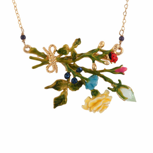 42+5 Cm Rose D'Orient Yellow Rose W/ Gold Buds & Ladybird Necklace | AFOR3051