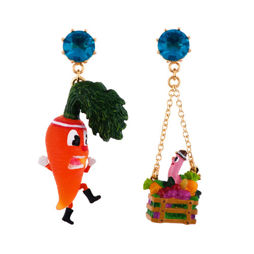 Mon Potager Carrot W/ Vegetables Basket & An Unexpected Guest Earrings   AFMM1091