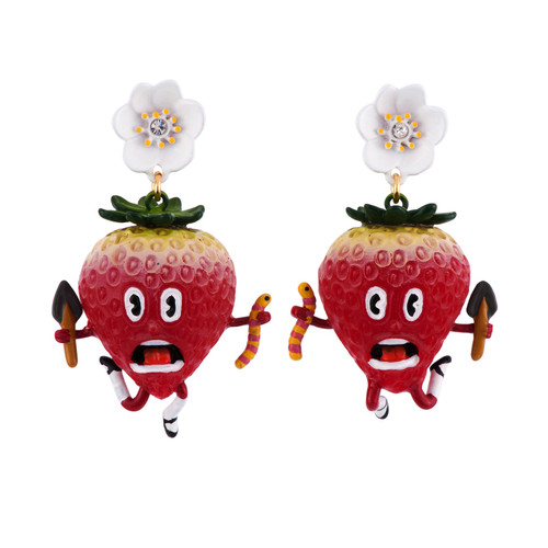 Mon Potager Strawberry W/ Worm Earrings   AFMM1021