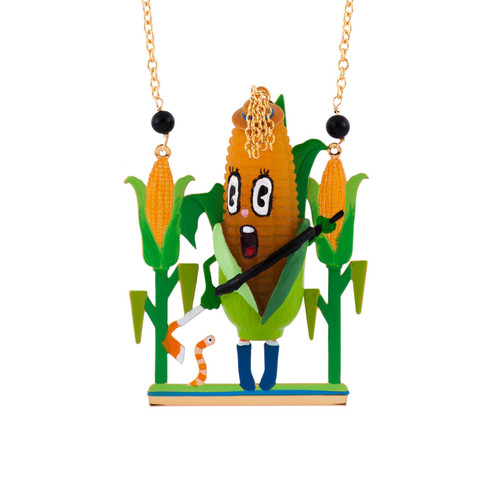 75+5 Cm Mon Potager Corn W/ Hat & Spade In Theé Middle Of A Corn Field Necklace | AFMM3161
