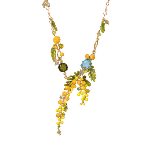 Mimosa'S Branch, Fern And Little Leaves Collar  Necklace   ABJP3021
