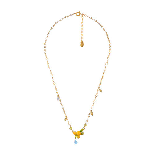 Mimosa Flower And Little Pearls Pendant  Necklace   ABJP3121