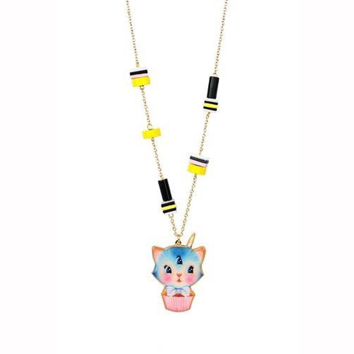 63+5 Cm Candy Monster Blue 3-Eyed Kitten And Liquorice Candies Necklace | ABCM3111