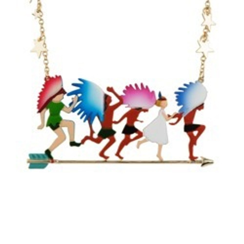 Envole-Moi Peter And Wendy Playing With Indians Gold Necklace   ACEM3101