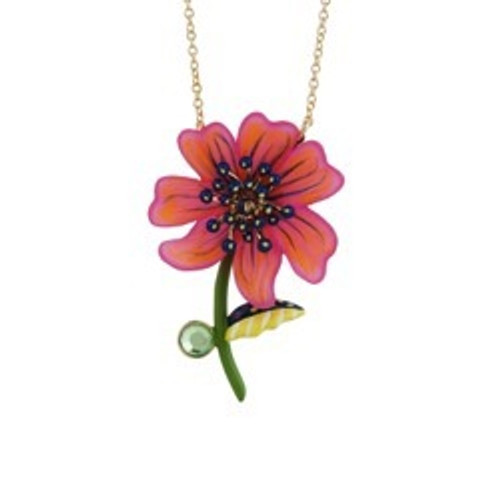 75+5 Cm Botanique Energique Fuchsia Cosmos With Dark Anthers And Pink Cabochon Necklace | ACBE3041