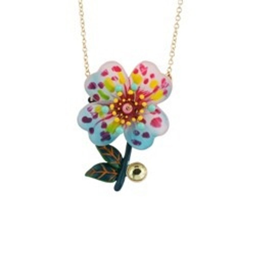 75+5 Cm Botanique Energique Spotted Pink Primrose With Turquoise Anthers And Pink Cabochon Necklace | ACBE3021