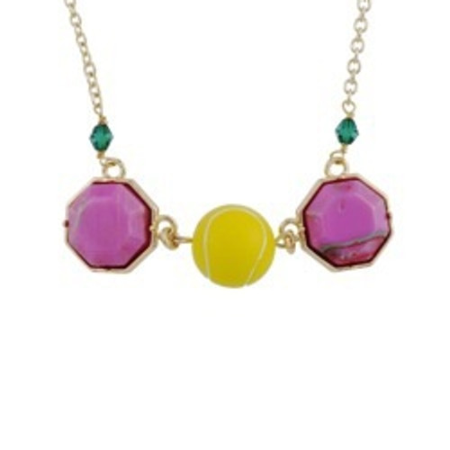 50+5 Cm Theé Sports Dome Tennis Ball And Fancy Pink Cabochon Tennis Necklace   ACSD3031