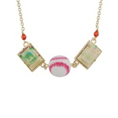 50+5 Cm Theé Sports Dome Baseball And Fancy Yellow Cabochon Baseball Necklace   ACSD3041