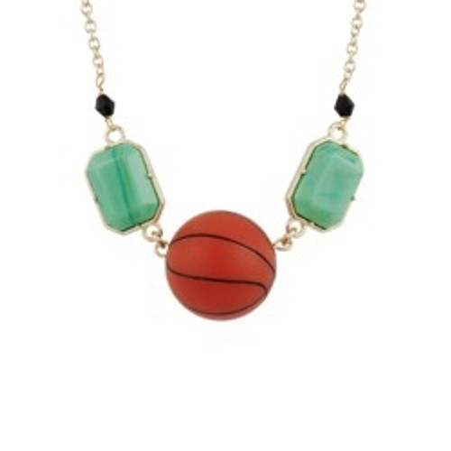 50+5 Cm Theé Sports Dome Basketball And Fancy Green Cabochon Basketball Necklace   ACSD3021