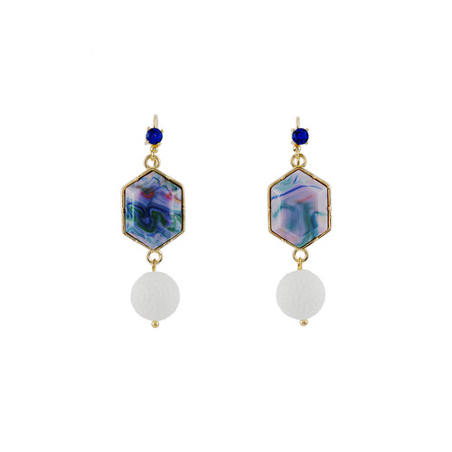 Theé Sports Dome Golf Ball And Fancy Purple Cabochon Golf Earrings | ACSD1011