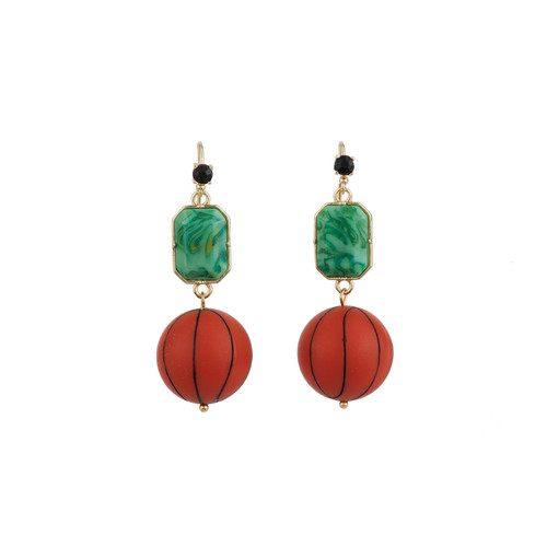 Theé Sports Dome Basketball And Fancy Green Cabochon Basketball Earrings | ACSD1021