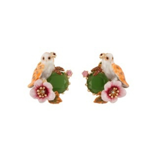 Clarte Nocturne Owl, Pink Flower & Green Faceted Glass Earrings | AECN106T/1