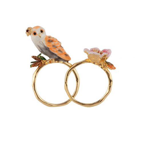 Set Of 2 Clarte Nocturne Owl, Pin Needles And Pink Flower Rings | AECN6011