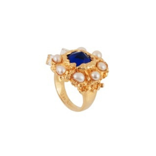 Roches Singulieres Round Blue Crystal Stone W/ Freshwater Pearls & Crystals Rings | AERO601/11