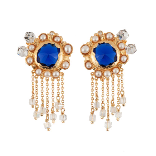 Roches Singulieres Round Blue Crystal Stone W/ Freshwater Pearls & Cascade Of Chains Earrings | AERO109T/1