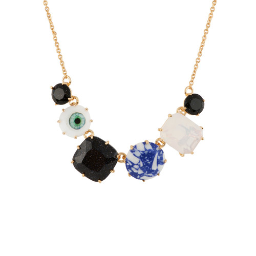38+5 Cm La Diamantine Speciale Marbled Stones, Glitter Blue Crystal Stones & 2 Eyes Necklace   AELDS3521
