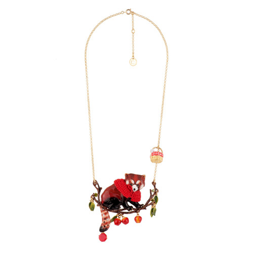 50+5 Cm Red Panda W/ Faceted Crystal Necklace | AEGJ3011