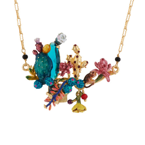 Gerbil Hiding In Desert Flowers And Cactus Necklace | AGDC3041