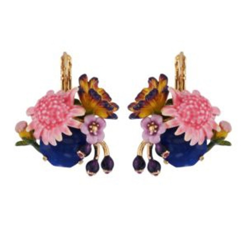 Pink Flower And Blue Stone Earrings | AGHI101/1