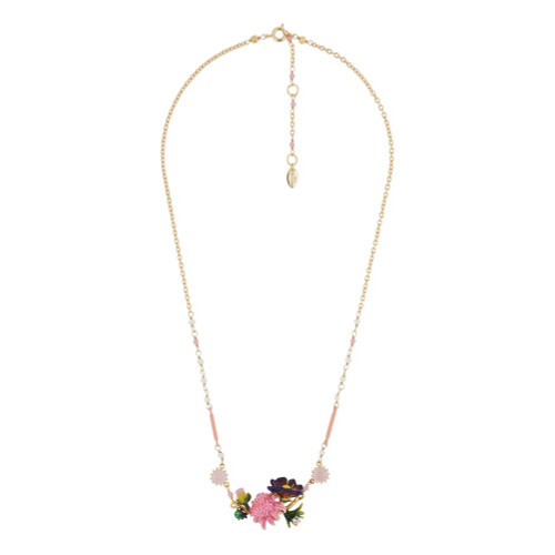 Pink Flower, Buds W/ Pink Stone Necklace | AGHI3041