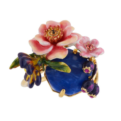 Pink Flowers W/ Blue Stone 50 Rings | AGHI601/11