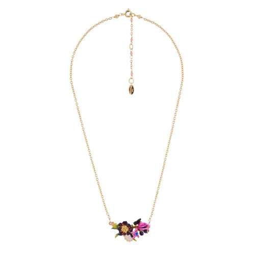 Pink And Purple Flower, Butterfly W/ Pink Stone Necklace | AGHI3061