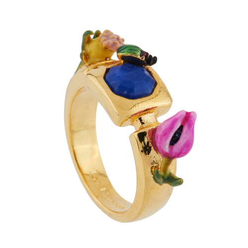 Tulip, Flower Buds W/ Blue Stone Ring | AGHI6041