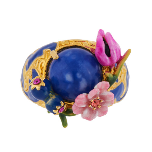 Tulip, Pink Flower And Blue Stone 50 Rings | AGHI606/1