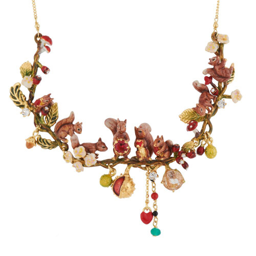 Squirrel Family And Chestnuts In Autumn Forest Necklace | AGSF3011