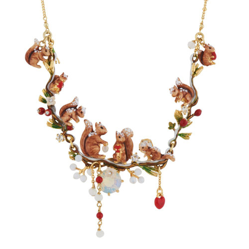 Squirrel Family W/ Snow In Winter Forest Necklace | AGSF3012