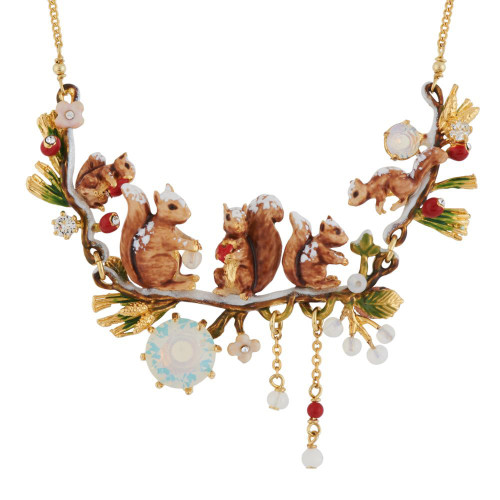Squirrel Family In Winter Forest Necklace | AGSF3022