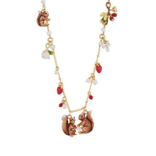 Squirrels W/ Nuts Long Necklace | AGSF3102